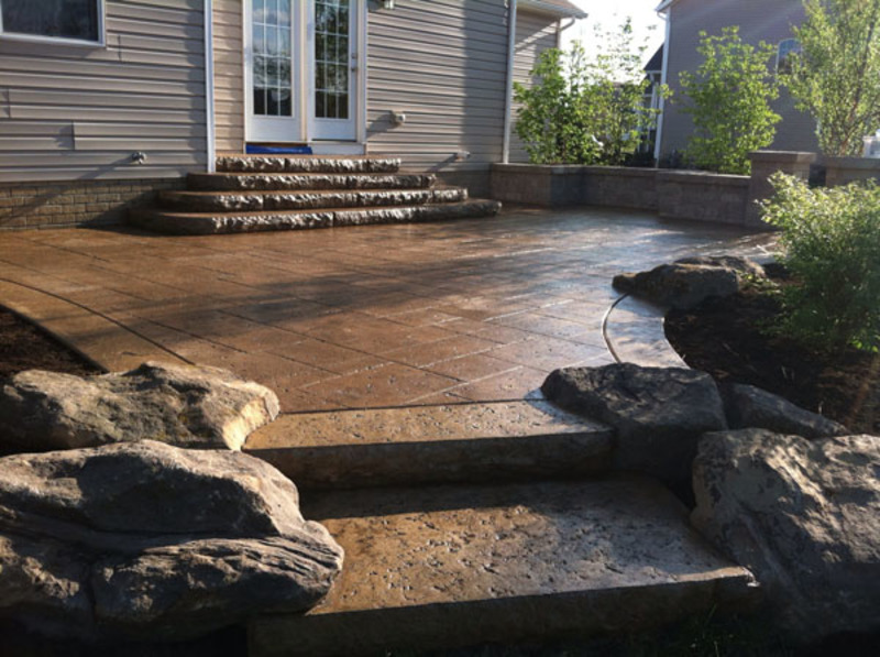 #1 Brown Travertine Stamped Concrete