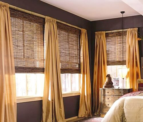 bamboo shades in bay window and over kitchen sink | Kitchen Remodel