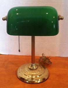 Image is loading VINTAGE-ART-DECO-BRASS-BANKERS-DESK-LAMP-EMERALD-