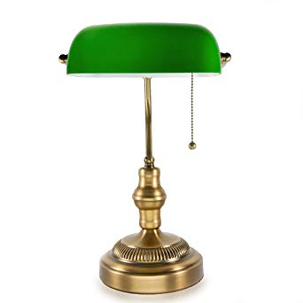 Traditional Bankers Lamp, Brass Base, Handmade Emerald Green Glass Shade,Vintage  Office Table