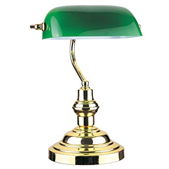 "Image Unavailable. Image not available for. Color: RUDY Bankers Desk Lamp  15""H, Green Glass Shade"