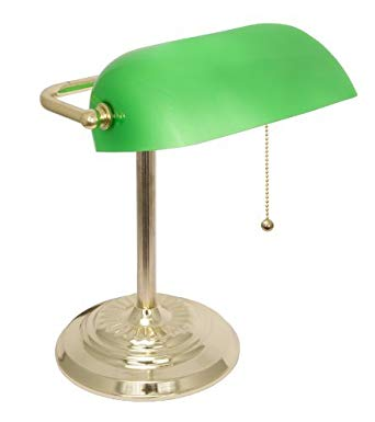 Light Accents Metal Bankers Lamp Desk Lamp With Green Glass Shade And  Polished Brass Finish Old