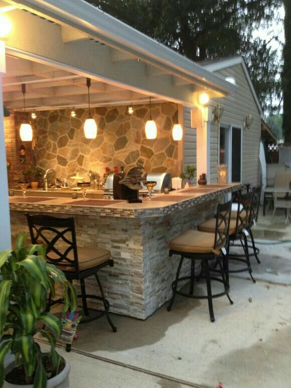 Outdoor Patio Bar, Outdoor Bar And Grill, Outdoor Bars, Patio Swing, Rustic