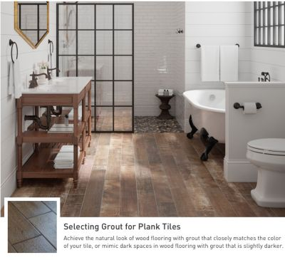 Achieve the natural look of wood flooring with grout that matches your  color tile. Bathroom