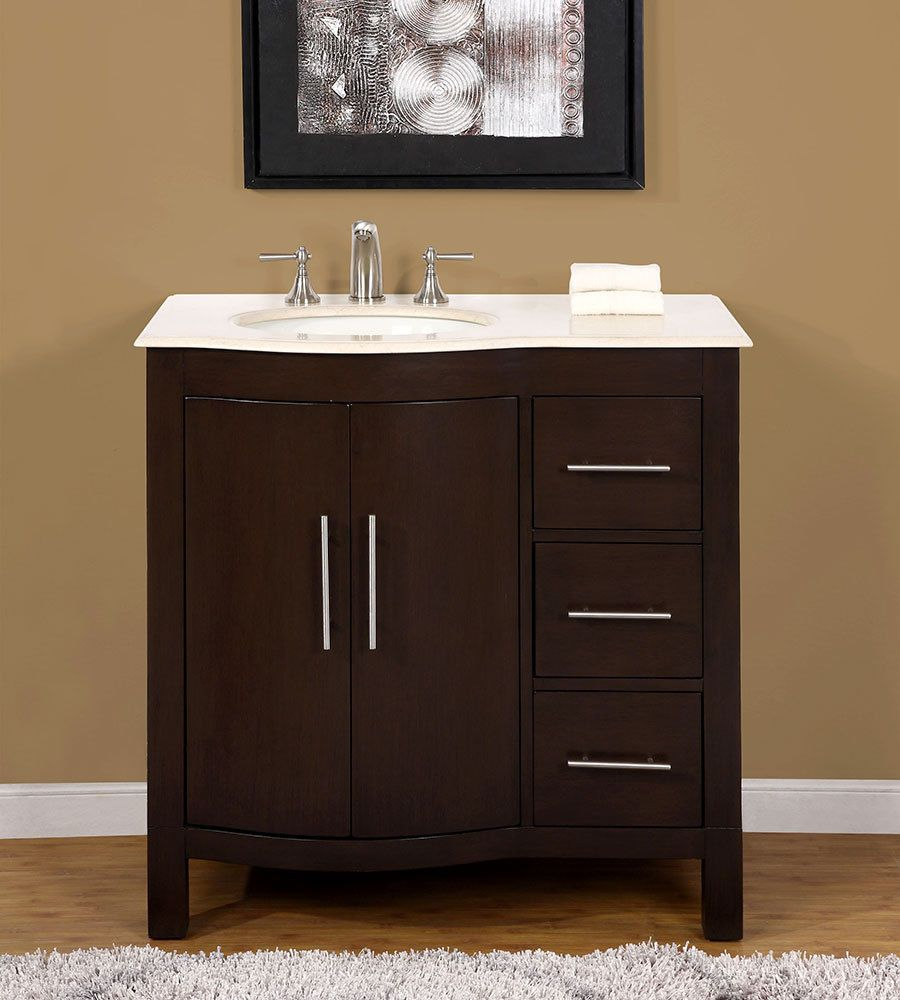 36-inch Marble Top Bathroom Vanity Off Center Left side Sink Cabinet  0912CM-L #SilkroadExclusive #Modern