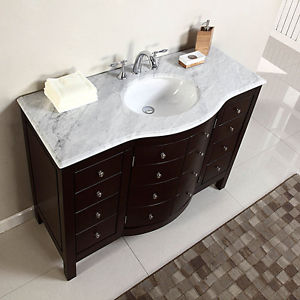 Image is loading 48-034-Single-Sink-White-Marble-Top-Bathroom-