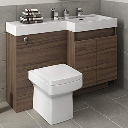 1200mm Walnut Vanity Unit Square WC Toilet Bathroom Sink Furniture