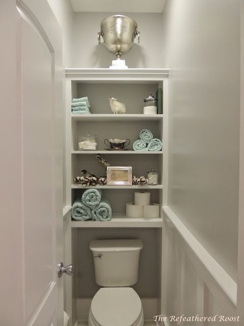 The water closetwainscot & shelves also paint design regardless of  color, two shades