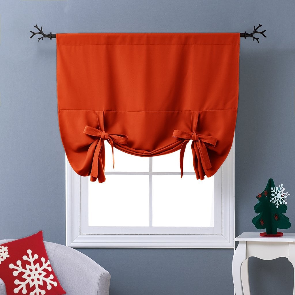 NICETOWN Thermal Insulated Blackout Curtain in Orange - Tie Up Shade