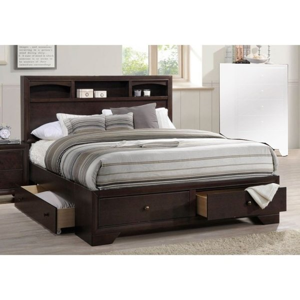 Wooden Queen Bed With Display Shelves & Under Bed Drawers Dark Brown