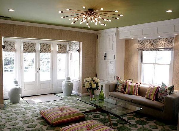 Love how so many different patterns created such a cohesive look. Great  statement light for a low ceiling. More