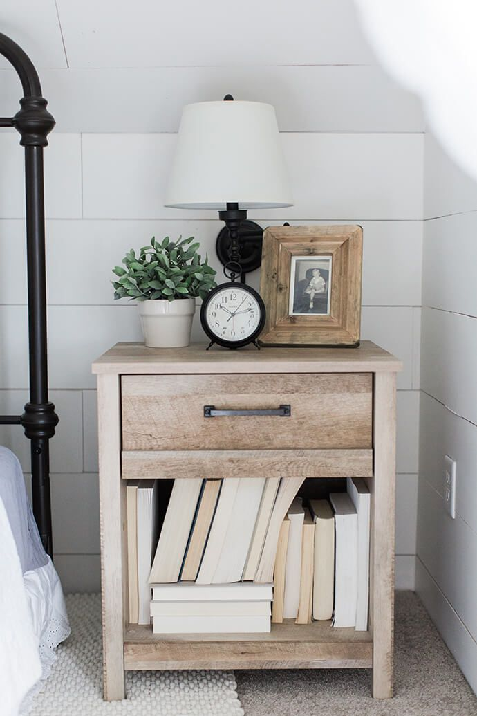 Step Inside The Modern Farmhouse Of Liz Fourez | Glitter Guide Decorate  Nightstand, Nightstand Ideas