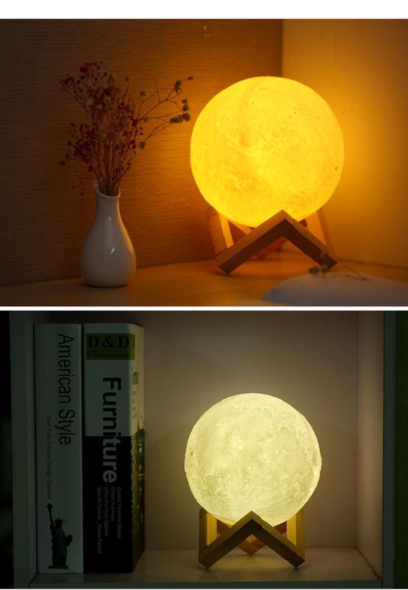 LED Moon Lamp Night Light Bedside Night Light Pat Touch Night Light  Creative Bedside Table Lamp 3D LED Moon Lamp Bedside Night Light Creative Night  Light