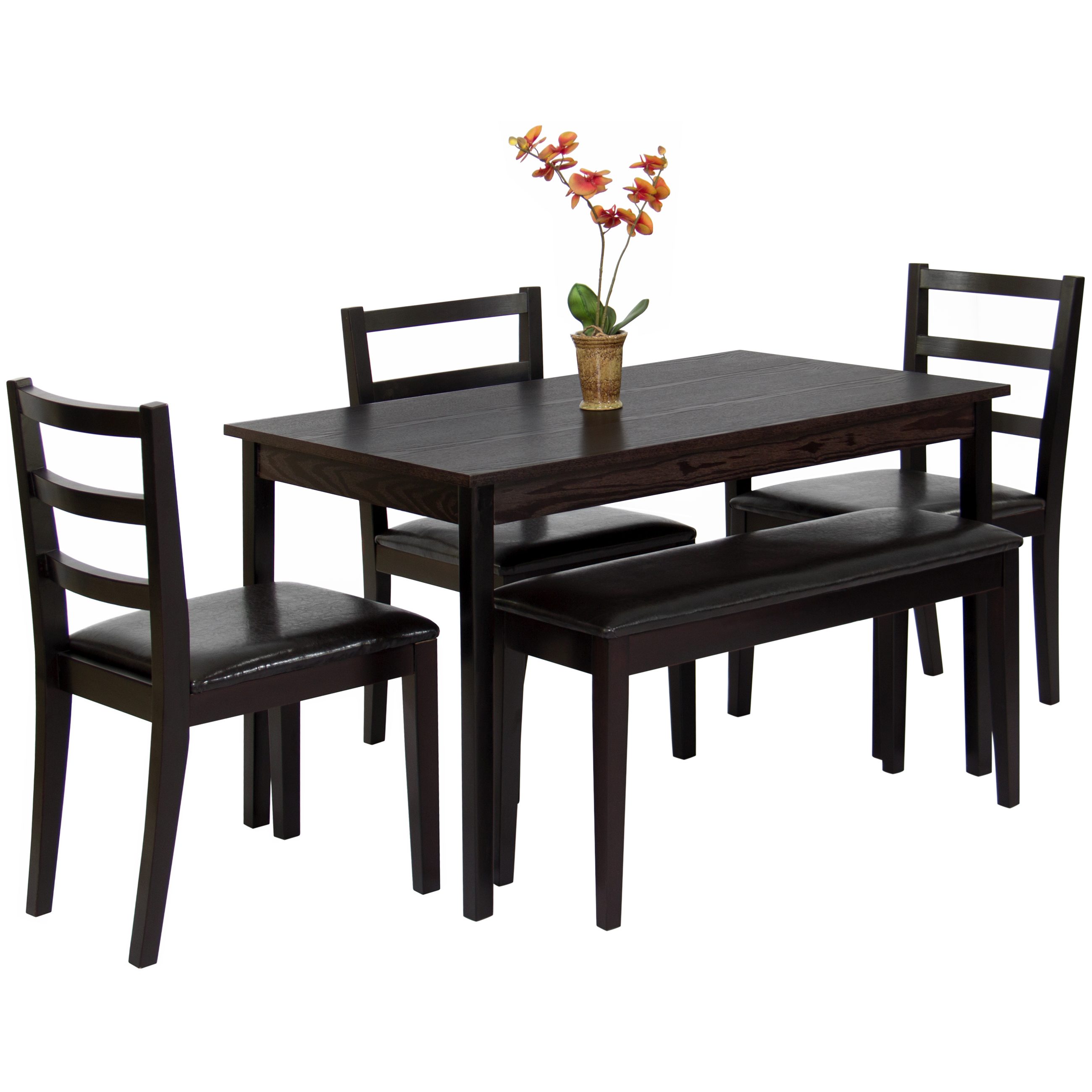 Best Choice Products 5-Piece Wood Dining Table Set w/ Bench, 3 Chairs