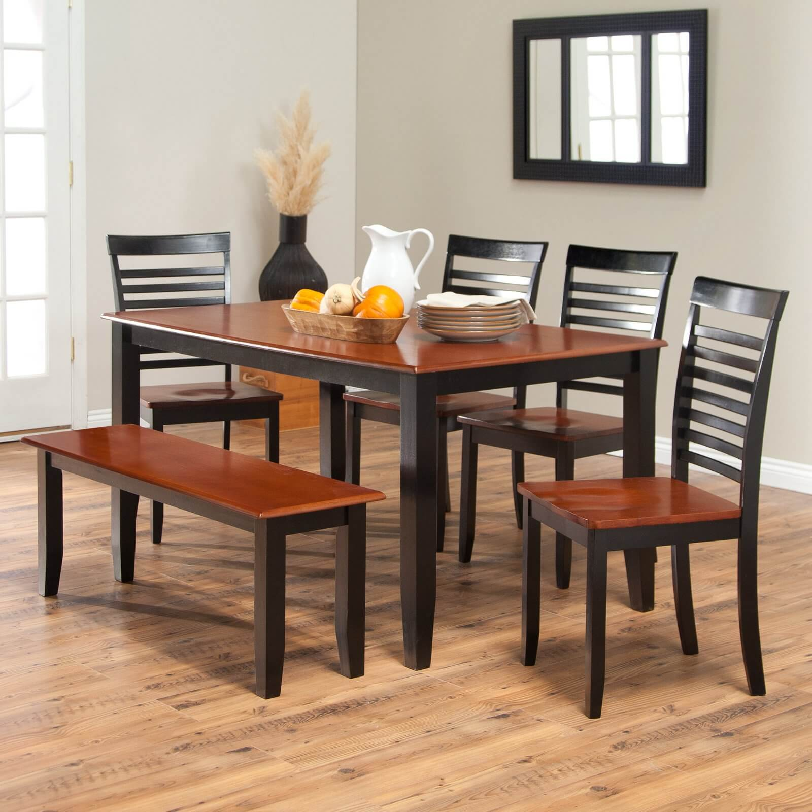 Simple two-toned dining set with bench. The seats and table top are cherry