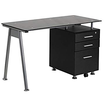 Amazon.com: Flash Furniture Black Glass Computer Desk with Three