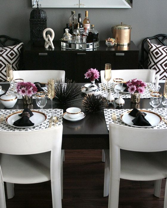 small shop for stone textile, modern glam table setting | dining