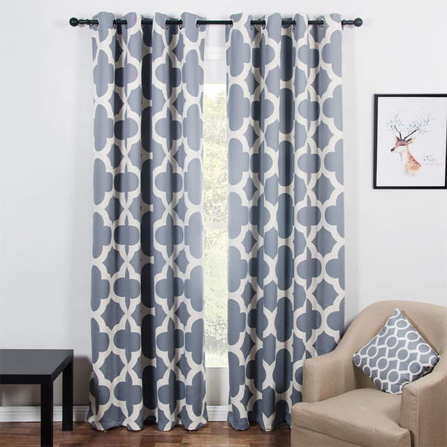 Online Shop Modern Quatrefoil Pattern Blackout Curtains for Living