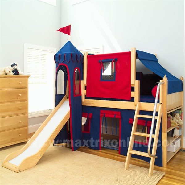Maxtrix Boys Castle Bed w/ Angled Ladder and Slide (Blue/Red) (Twin