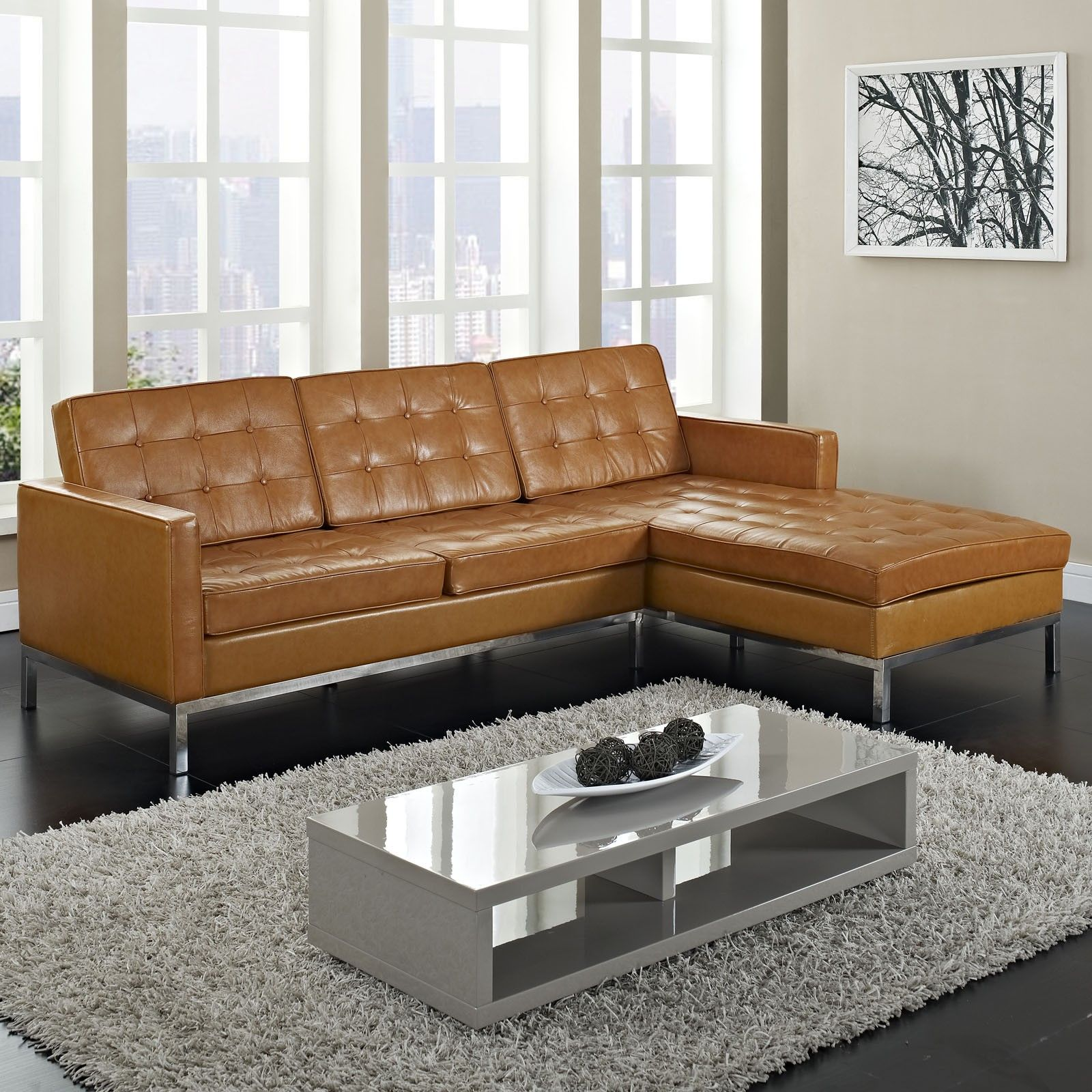Furniture, Maximizing Small Living Room Spaces With 3 Piece Brown Leather  Tufted Sectional Sofa With Stainless Steel Legs And Glass Top Low Coffee  Table