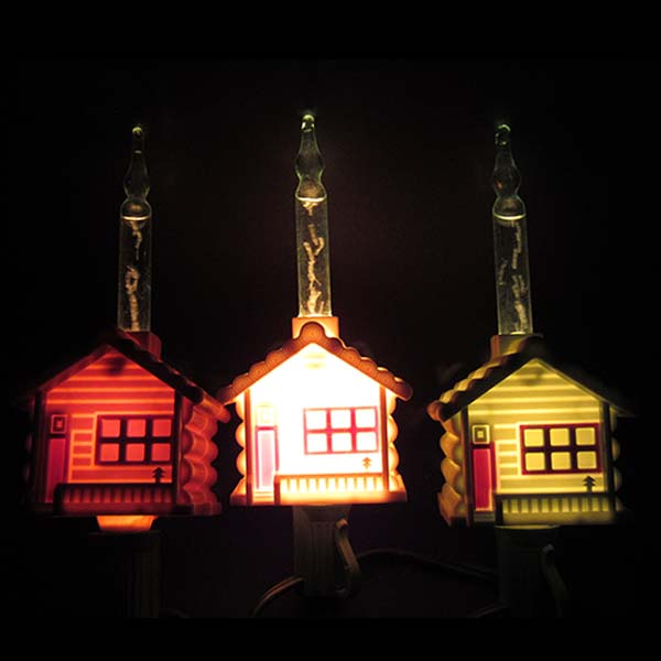 Log Cabin Bubble Lights | Northern Lights and Trees