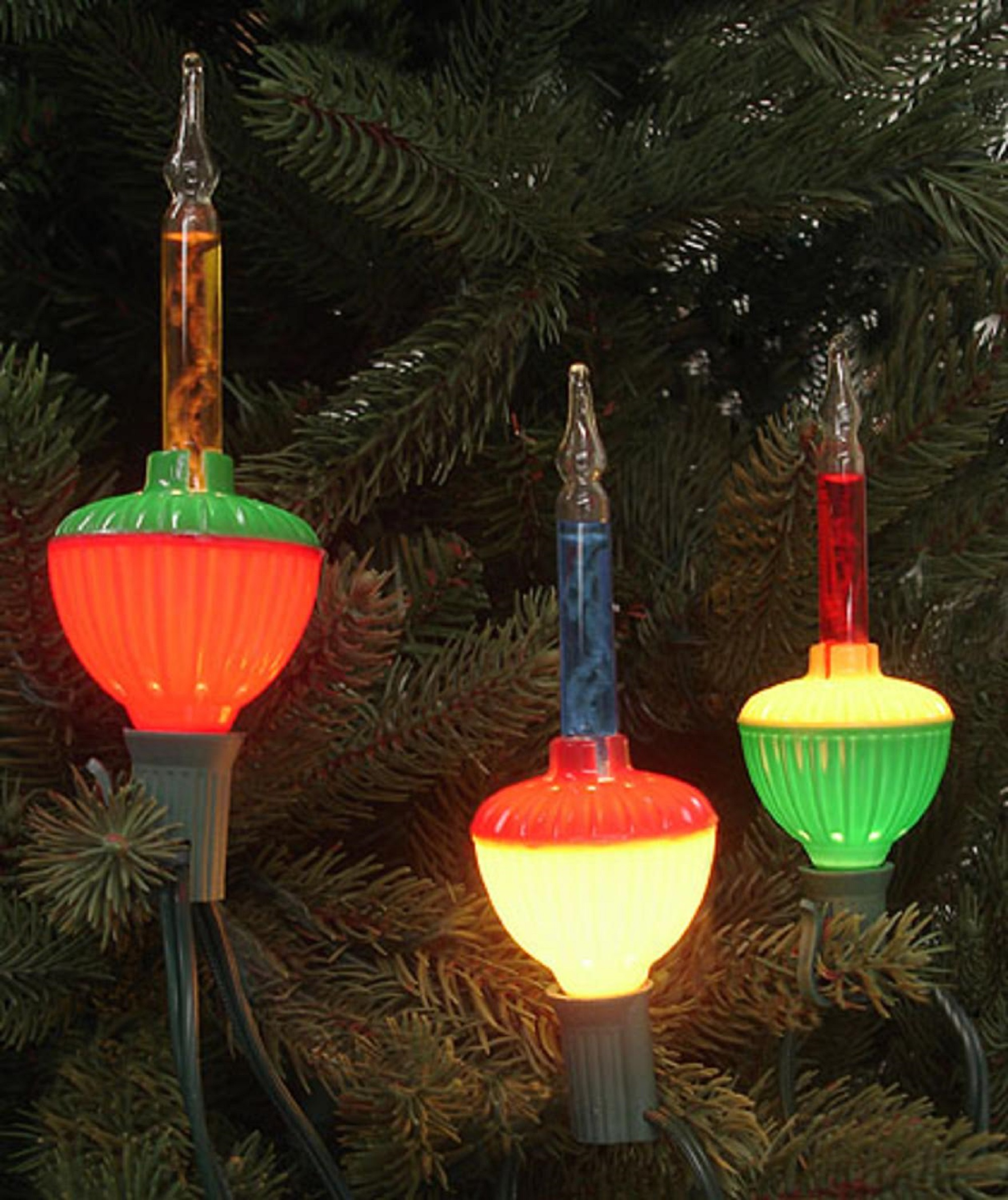 Set of 7 Multi-Color Retro Christmas Bubble Lights - Green Wire