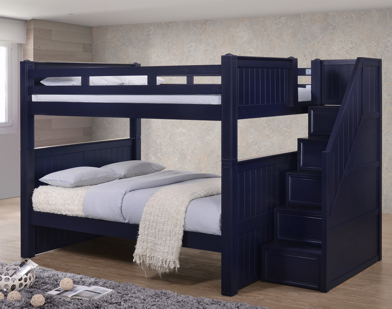 Dillon Full over Full Bunk Beds with Storage Stairs | DILLON Full Size Bunk  Bed with