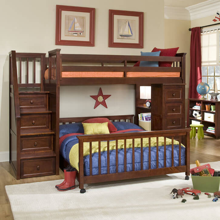 This immense dark stained wood frame bunk bed features the perpendicular  lower bunk design, built