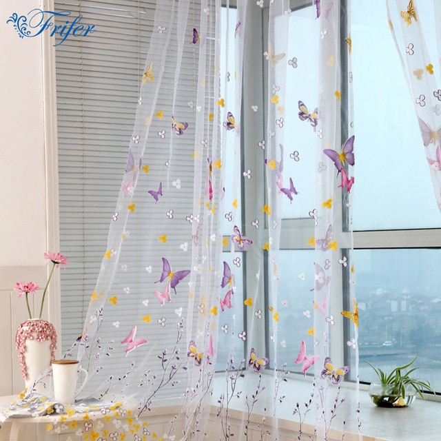 Tulle Curtain Ultra Light Embroidered Butterfly Window Curtains for