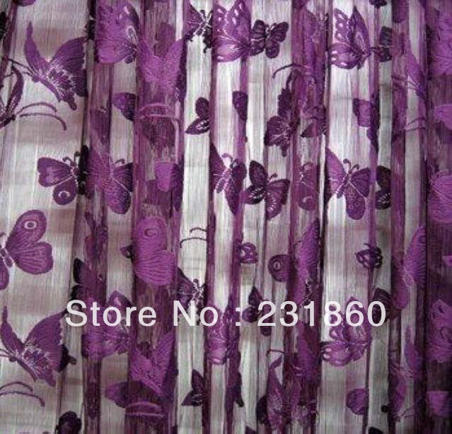 1 X Dark Purple Butterfly String Curtains Window Room Divider Home