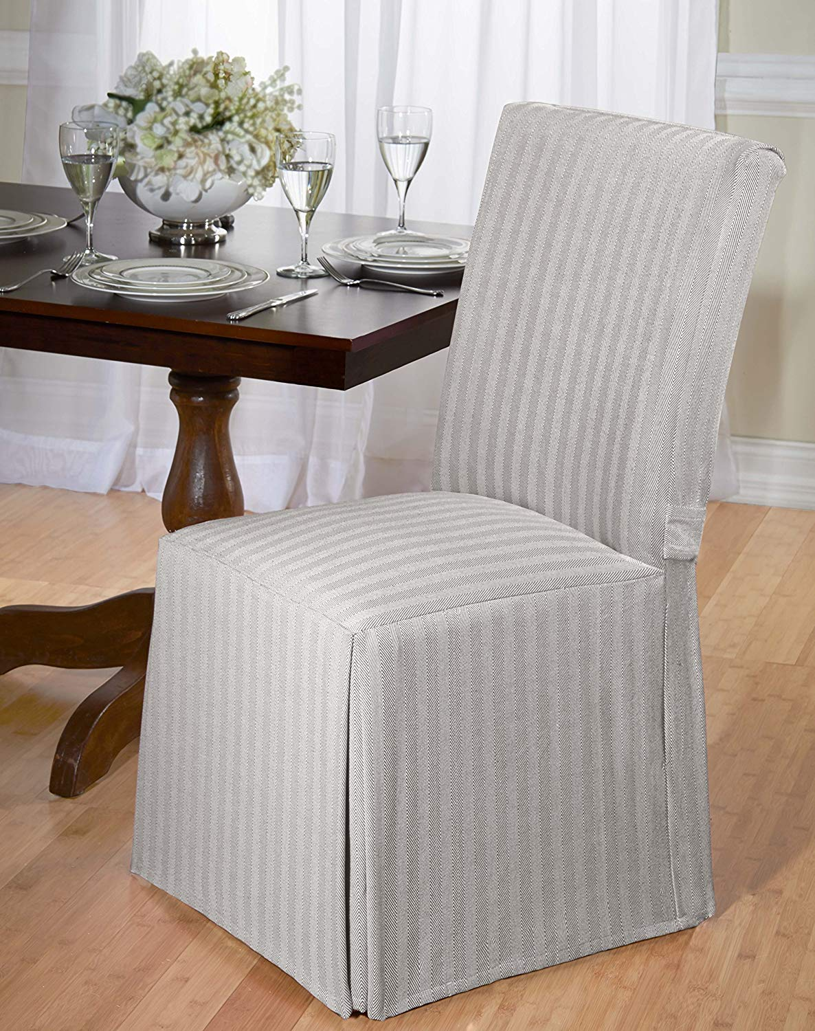 Traveller Location: Luxurious Dining Chair Cover, Herringbone, Beige, Grey, and Red  (Beige): Home & Kitchen