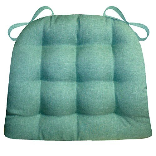 Traveller Location: Barnett Products Dining Chair Pad with Ties - Hayden Turquoise  Heathered Plain Weave - Extra-Large - Reversible, Latex Foam Filled Cushion,