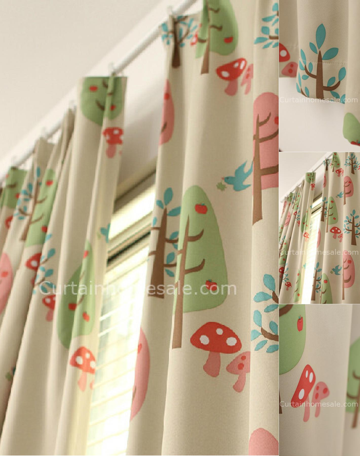 Cutest Blackout Kids Trees and Mushroom Printed Pleated Curtains