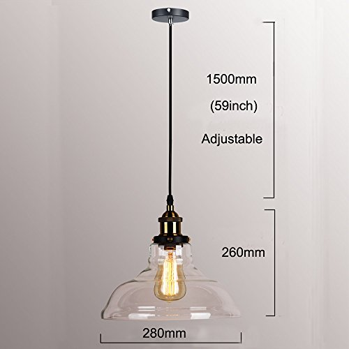WINSOON 11 X 10 Inch Vintage Industrial Ceiling Lamp Clear Glass