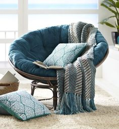 Plush Teal Papasan Cushion. Comfortable Chairs For Bedroom