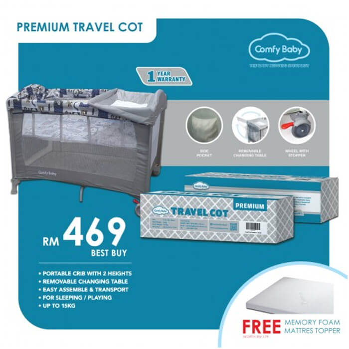 Comfy Baby Travel Cot - Premium Grey