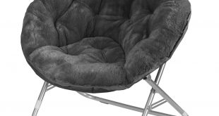 Traveller Location: Urban Shop Faux Fur Saucer Chair with Metal Frame, One Size,  Black: Toys & Games