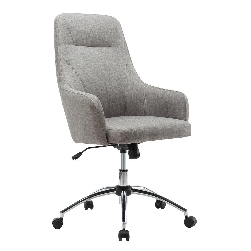Techni Mobili Gray Comfy Height Adjustable Rolling Office Desk Chair