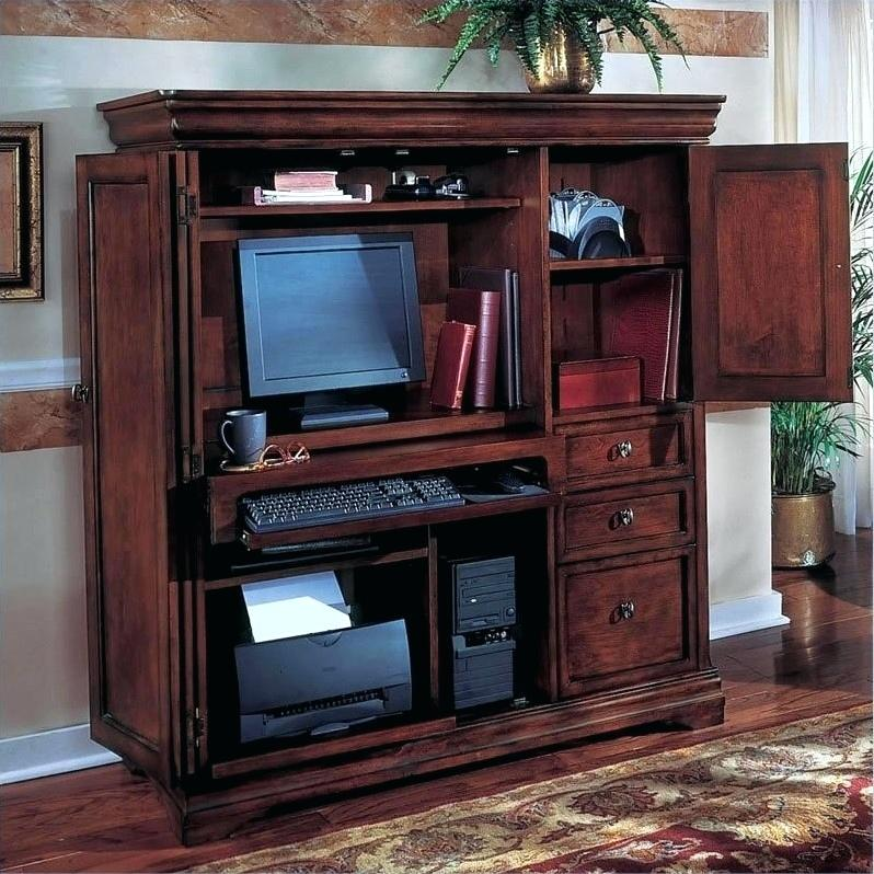 computer armoire with fold out desk rue computer in ruby computer armoire  with swing out desk