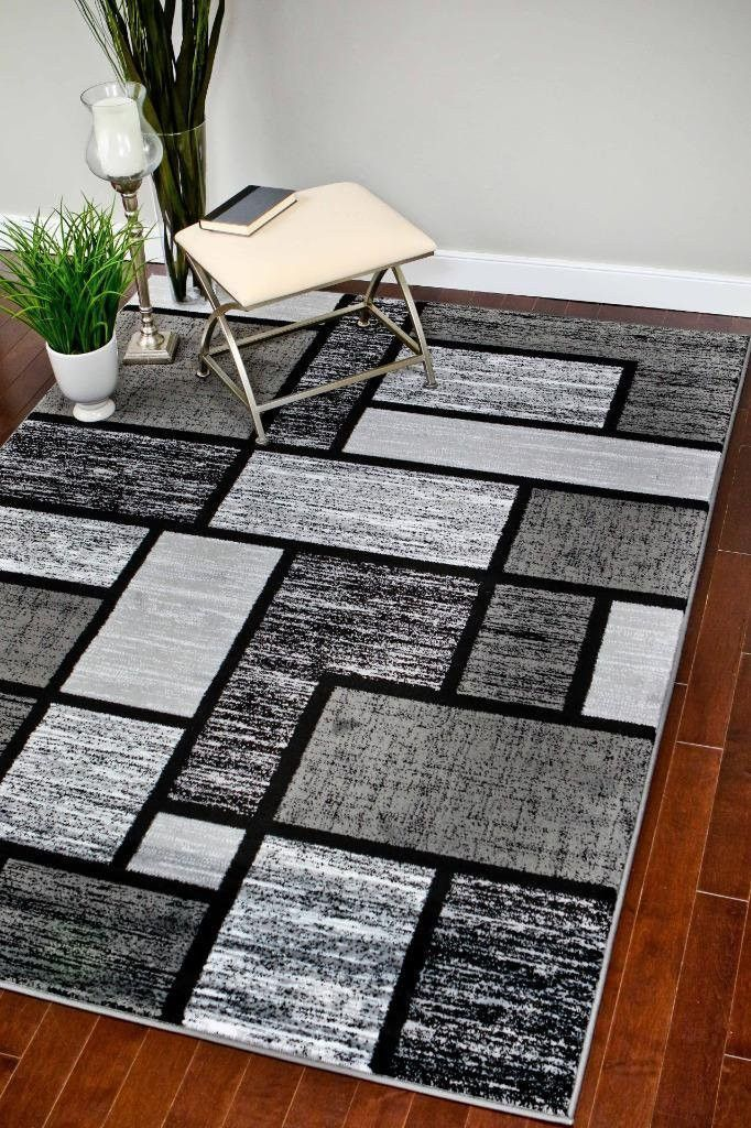 Gray Abstract Contemporary Modern Large Area Rugs - Bargain Area Rugs