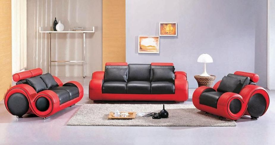 Giving design to contemporary red leather   sofa set