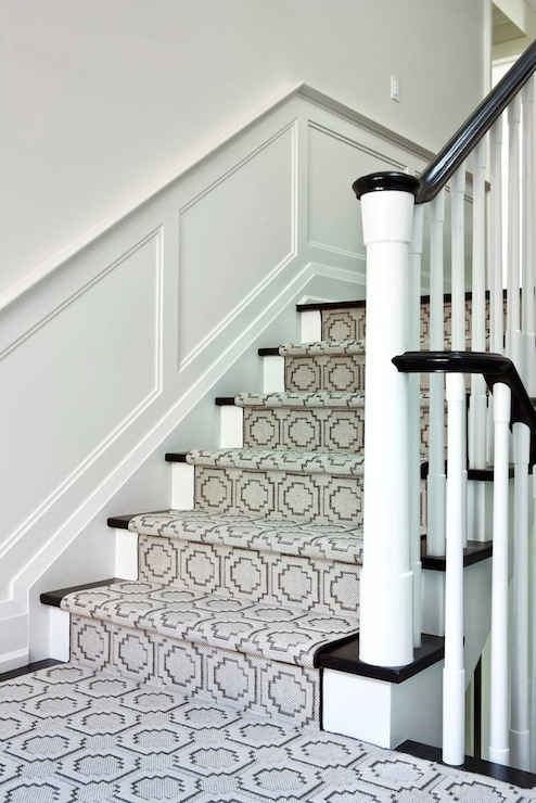 Geometric Stair Runner - Transitional - entrance/foyer - Jennifer