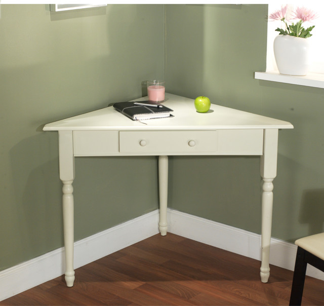 White Corner Desk with Turned Legs - Contemporary - Desks And
