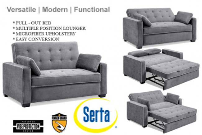 Queen Size Modern Sofa Bed. Grey-Augustine-Serta-Dream-Rise-Sleeper -Lounger-&-