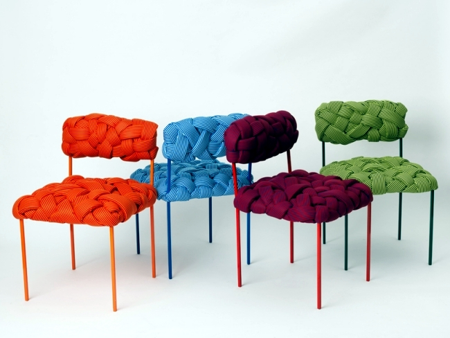 This cool seating design by Brazilian designer impressed not only with  fresh colors, but also with an interesting pattern. The seat design mimics  the