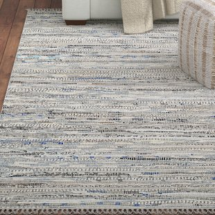 Havelock Striped Contemporary Cotton Gray Area Rug