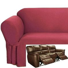 Reclining SOFA Slipcover Ribbed Texture Red adapted for Dual Recliner Couch  Leather Reclining Sofa, Loveseat