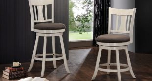Shop Tabib Fabric and White Wood Counter Height Chair with Swivel