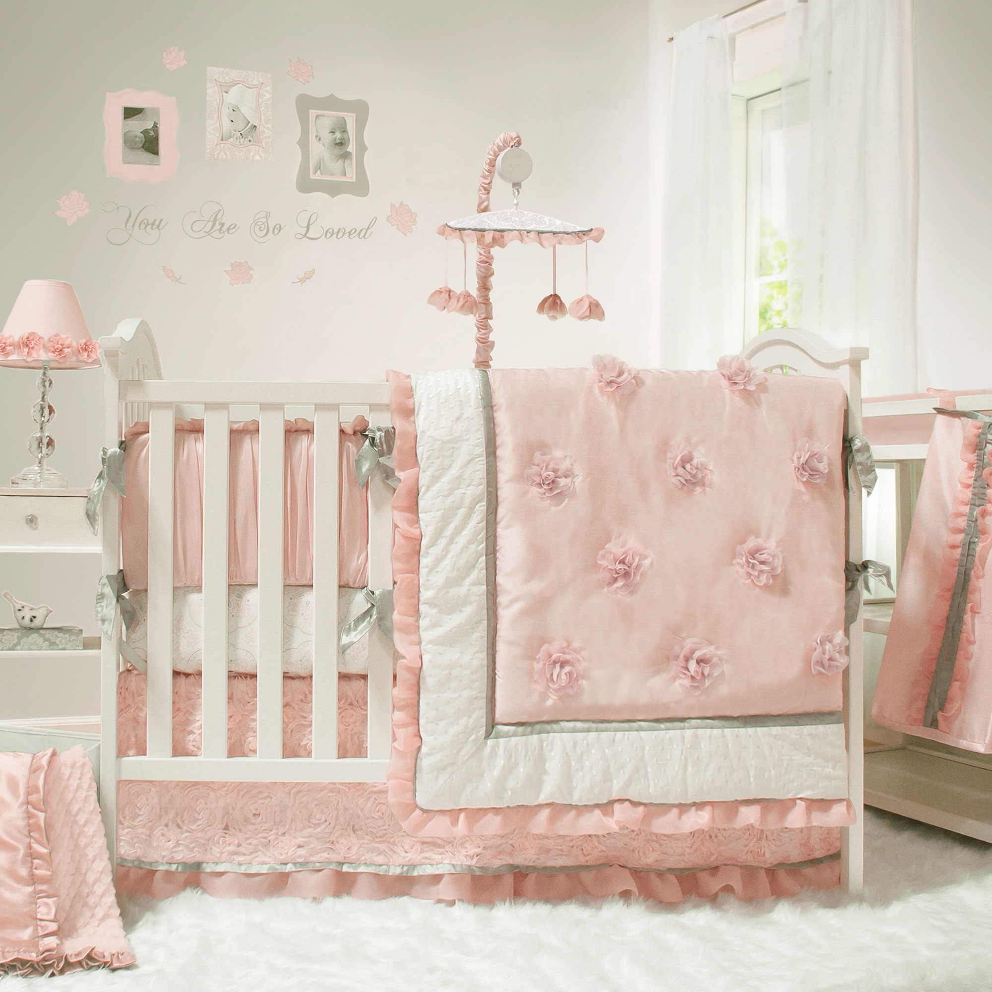 The Peanut Shell Baby Girl Crib Bedding Set - Pink and White - Arianna 4  Piece Set - Traveller Location