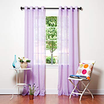 Best Home Fashion Crushed Voile Sheer Curtains - Antique Bronze Grommet Top  - Purple - 52&quot